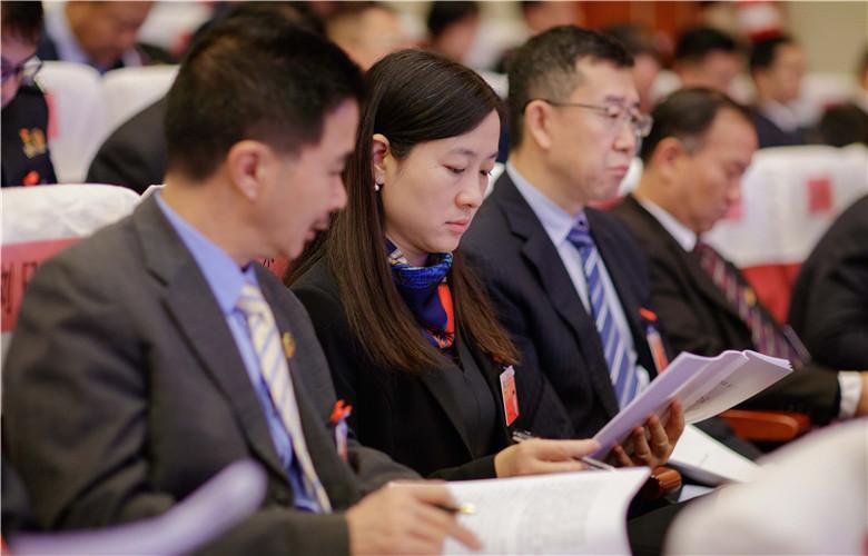 参会代表们认真阅读会议材料
